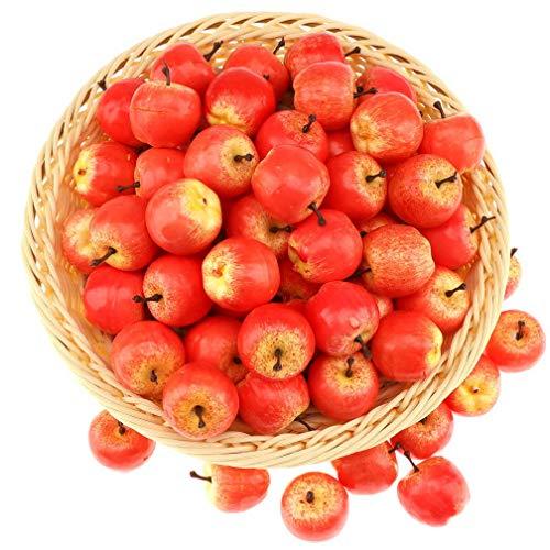 Gresorth 30 Stück Künstliche Lebensechte Mini Apfel Deko Gefälschte Früchte Obst Party Festival Dekoration