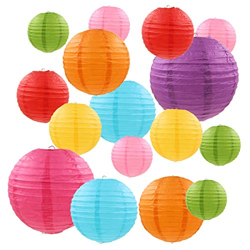 16 Stück Bunte Papierlaternen, BoloShine Rund Ballform Lampenschirm Papierlaterner, Chinesische...