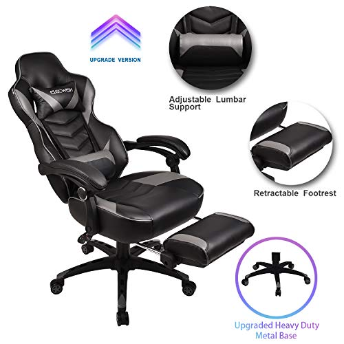 Video Gaming Chair Racing Office - PU Leather High Back Ergonomic Adjustable Swivel Executive Computer Desk Task Large Size with Footrest,Headrest and Lumbar Support(Grey) chair gaming gray