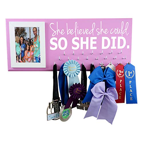 Medal displays - She Believed she Could so she did - Running - Gymnastics - Cheerleading - Swimming - Soccer - Volleyball and More - Hanger for All Medals