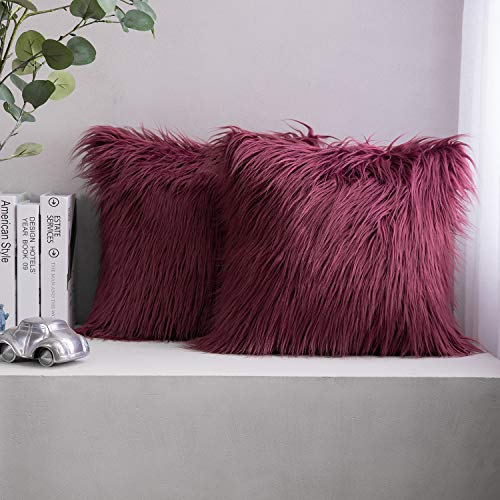 Phantoscope Pack of 2 Christmas Faux Fur Throw Pillow Covers Cushion Covers Luxury Soft Decorative Pillowcase Fuzzy Pillow Covers for Bed/Couch,Purple 18 x 18 Inches
