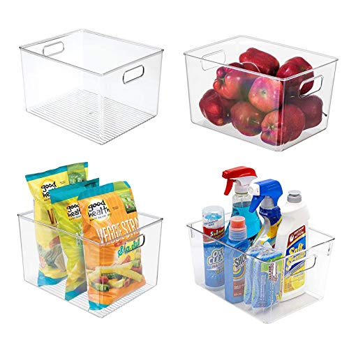 """Zeeych Clear Deep Pantry Organizer Bins Household Plastic Food Storage Basket with Cutout Handles for Kitchen,Office, Cabinets, Refrigerator, Freezer, Bedrooms, Bathrooms - 11"""" L × 8"""" W × 6"""" H"""