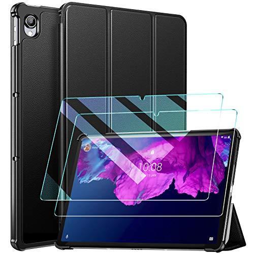 ZtotopCases Funda para Lenovo Tab P11 11 Pulgada 2021 + 2 Cristal Templado, Funda Protectora Plegable Ultrafina y Práctica para Lenovo Tab P11, Negro