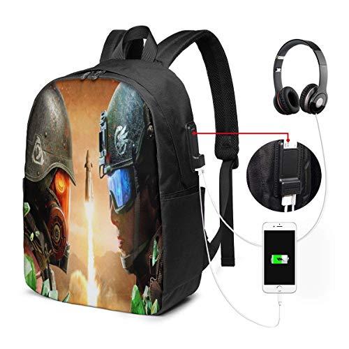 shenguang Command Conquer Red Alertlaptop Rucksack mit USB-Ladeanschluss Kopfhörerdeck, Business Commute Rucksack mit großer Kapazität, College Women Men Rucksack Reisetasche 17 Zoll