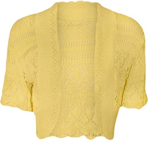 ZJ Clothes Women Ladies Crochet Knitted Shrug Cardigan Bolero Sweater Yellow