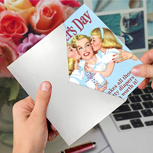 NobleWorks - Funny Vintage Mothers Day Greeting Card - Retro Notecard for Mom or Stepmom - Sh-tty Diapers Worth It 7396 Photo #6