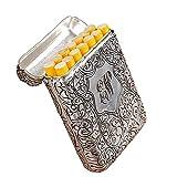 Moda Estuche de Cigarrillos Doble Cara Rey Grabado Patrón de Cigarrillo Moderno para Mujeres Los Hombres Pueden Contener 14 Cigarrillos Anti colisión, Prueba de Salpicaduras y a Prueba de arañazos