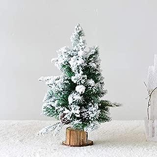 JYEMDV Artificial Desktop Christmas Tree Wood Base Simulation Snowflake Flocking Cedar Holiday Window Props (Color : D)