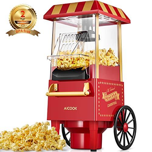 Popcornmaschine für Zuhause, Aicook™ 1200W Retro Popcorn Maker Machine mit Heissluft, Popcornmaker ohne Fett Fettfrei Ölfrei, Eine-Taste-Operation, Popcorn Popper, Rot