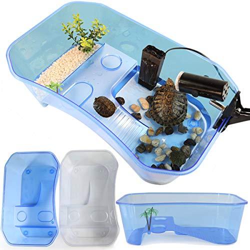 MJJEsports Reptiel schildpad schildpad vis Vivarium Box Aquarium tank met Basking Ramp wit blauw
