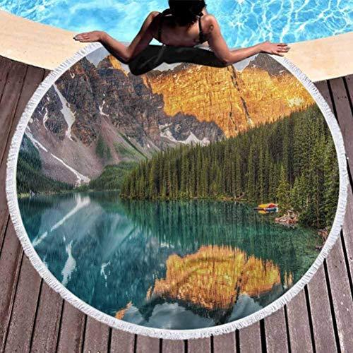 Toalla de Playa Premium Tapiz Redondo Natural Lago Moraine Cordillera Canadiense con Arroyo Bosque de pinos Paisajes de la Madre Tierra Uso para niños Mujeres HombresNiño niña Multicolor (diámetro 59