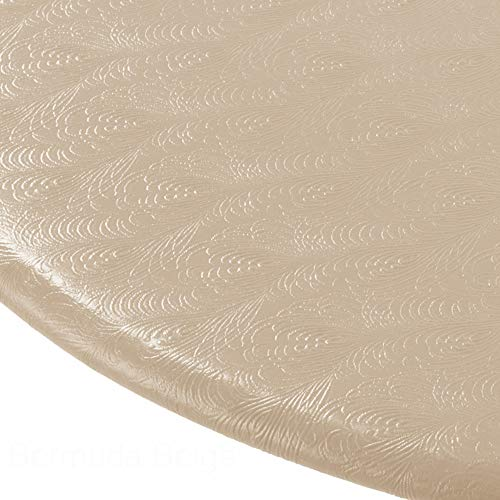 Econotex Bermuda Beige Tan Fitted Tablecloth,tablecovers,Table Covers fits up to 48 inches.