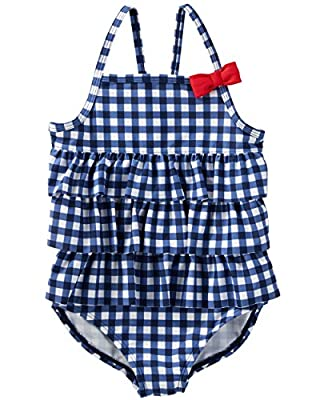 Osh Kosh Girls' Toddler One-Piece Swimsuit, Navy Gingham, 2T