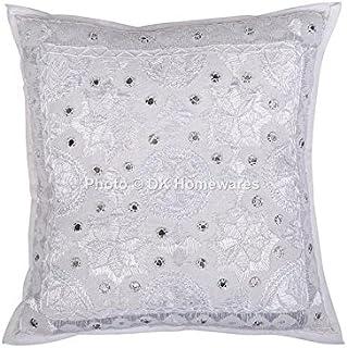DK Homewares Salon Star Moon Miroir Brodé Blanc 16x16 Pouces Couverture taie d'oreiller Coton Ethnique bohème Carré Décora...