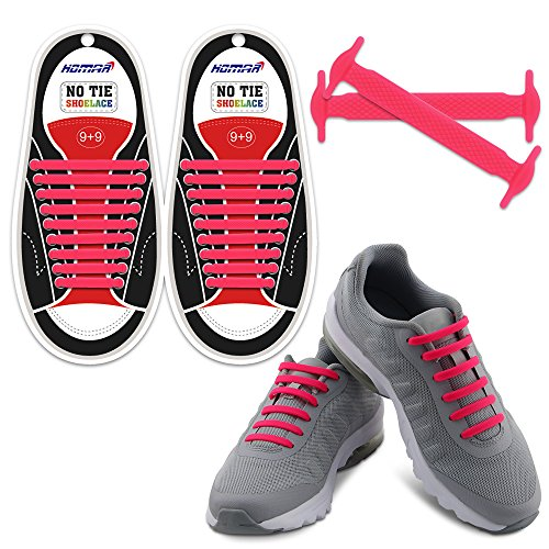 Homer No Tie Shoelaces in 13 Farben für Kinder und Erwachsene Elastische Schnürsenkel Schalten Sie Ihre Schuhe in einem Slip-on Perfekt für Sneaker Stiefel Oxford - Pink