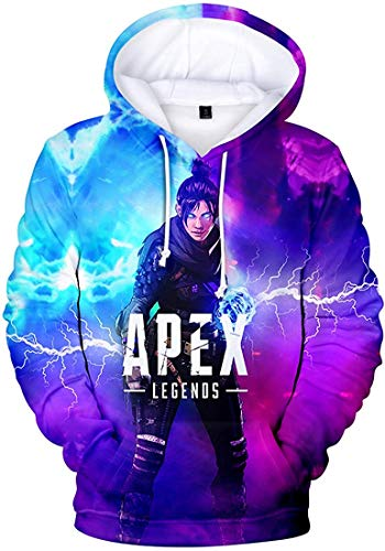 Anime DIY Men's Novelty Apex Legends Hoodie 3D Printed Gaming Sweatshirt for Men Women Teen,Wraith B&p,US Size XXS(Tag XS)