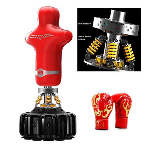HECHEN Freistehender Boxsack-Ständer, 170~180 cm mit Bluetooth-Lautsprecher Hochleistungs-Boxsack/Kickboxen/Kampfkunst/Ausgezeichneter Dummy für das Boxen,Rot