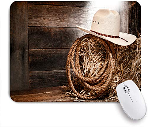 Marutuki Gaming Mouse Pad Rutschfeste Gummibasis,American West Rodeo Cowboy Strohhut traditionelle westliche Ranching Seil alte Holz Ranch Scheune,für Computer Laptop Office Desk,240 x 200mm
