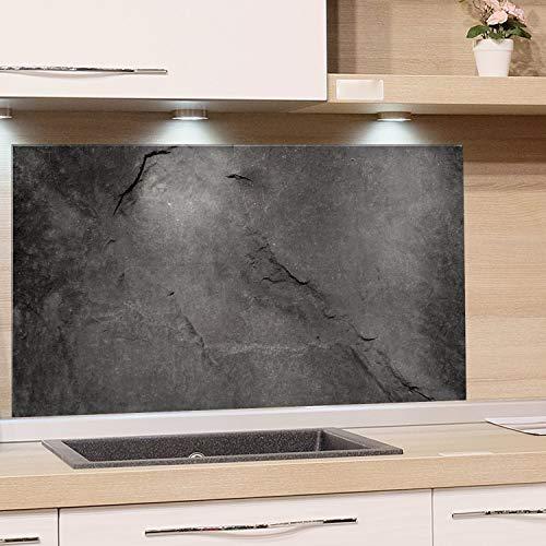 GRAZDesign Küchen-Spritzschutz Glas, Bild-Motiv Granit Grau Marmor, Glasbild als Küchenrückwand - Küchenspiegel - Wandschutz Küche Herd / 80x40cm