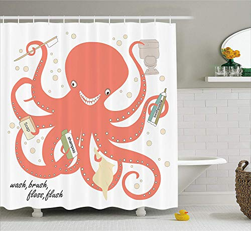 QAQ Starry waterski-decoratie, octopus, douchegordijn, badkamer, shampoo, tandpasta, modern design, stof
