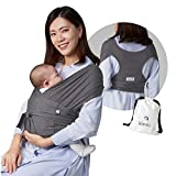 Konny Baby Carrier | Ultra-Lightweight, Hassle-Free Baby Wrap Sling | Newborns, Infants to 44 lbs Toddlers | Soft and Breathable Fabric | Sensible Sleep Solution (Charcoal, L)