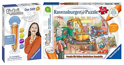 tiptoi Ravensburger 00049 - Puzzle para pequeños exploradores (2 x 12 piezas, a partir de 3 años, incluye lápiz 00801, con función de grabación)