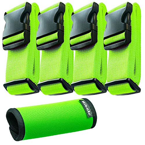 Hibate (4_Green) Luggage Straps Belts and (1_Green) Neoprene Suitcase Handle Wrap Grip Tags