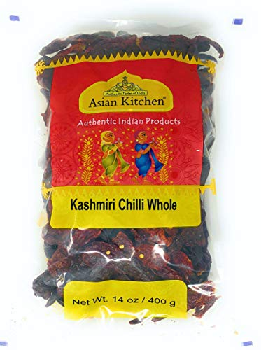 Asian Kitchen Kashmiri Chilli Whole, Low Heat Indian Chilli 14oz (400g) ~ All Natural | Vegan | Gluten Friendly | NON-GMO | Indian Origin