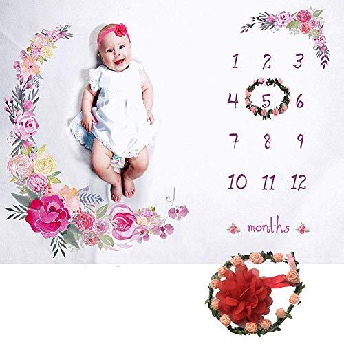 Eventualx Baby Fotografie Decke Bequem Weich Flanell Baby Monatliche Decke Kein Ausbleichen Multifunktional Leicht Zu Reinigen Baby Sicherheitsdecken Mit Blumenkranz Stirnband