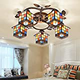 LITFAD Art Glass Lodge Shade 5-Light Semi Flush Ceiling Fixture Tiffany Style Ceiling Lamp with Leaves Accent Distressed Bronze Canopy 110V-120V Ceiling Hanging Light for Living Room Bedroom Hotel