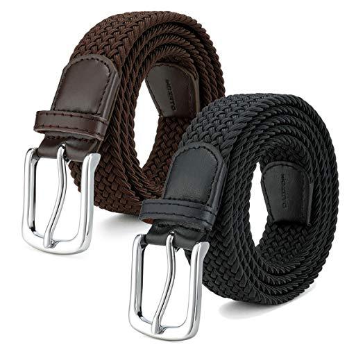 MOZETO 2er Unisex Elastischer Stoffgürtel, Geflochtener Stretchgürtel Dehnbarer Gürtel für Damen und Herren 33mm