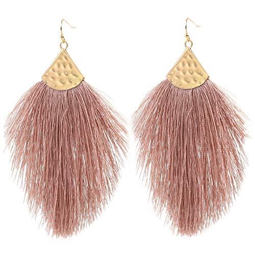 Vine Gems Pendientes de plumas con flecos para mujer – Boho Borla Joyería – Marrón