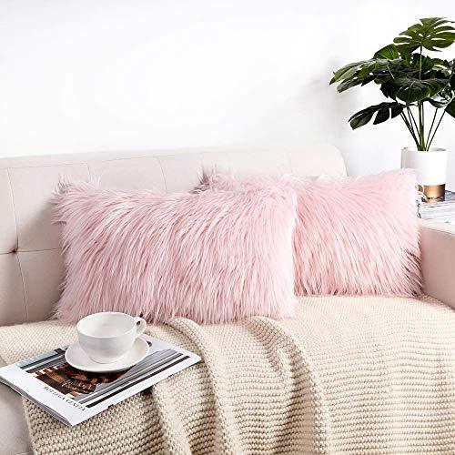 Belle10Bob Juego de 2 fundas de almohada decorativas de Navidad, color rosa, diseño de merino, color rubor, de piel sintética, funda de cojín de 30,5 x 50,8 cm