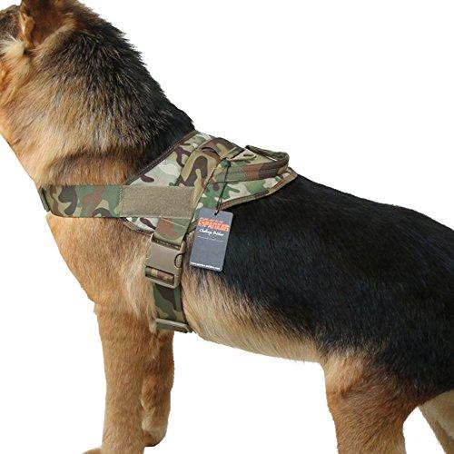 EXCELLENT ELITE SPANKER Taktische Hundeweste Ausbildung Hundegeschirr Militär Bedienung Verstellbares Hundegeschirr aus Nylon mit Griff(Camouflage-XS)