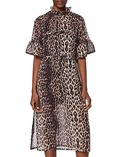 Amazon-Marke: find. Damen Midi-Blumenkleid, Braun (Brown), 38, Label: M