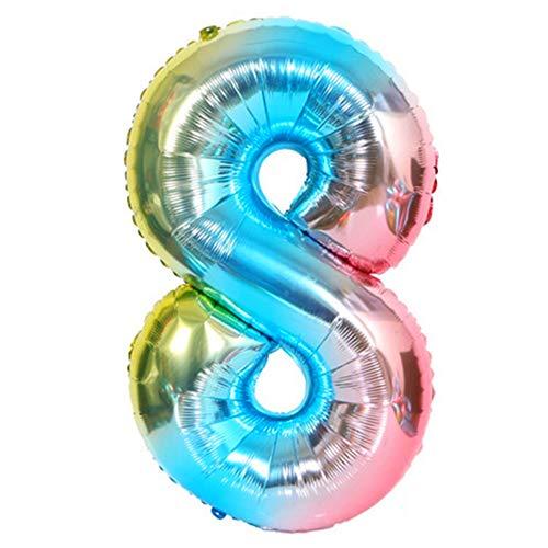 DIWULI, XL Zahlen-Ballons, Zahl 8, blau bunt Schillernde Regenbogen Luftballons, Zahlenluftballons, Folien-Luftballons Nummer Nr Jahre, Folien-Ballons 8. Geburtstag, Party, Dekoration, Geschenk-Deko