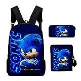 3PC / Set Mochila para niños, Juego Sonic The Hedgehog Patrón Estudiantes...