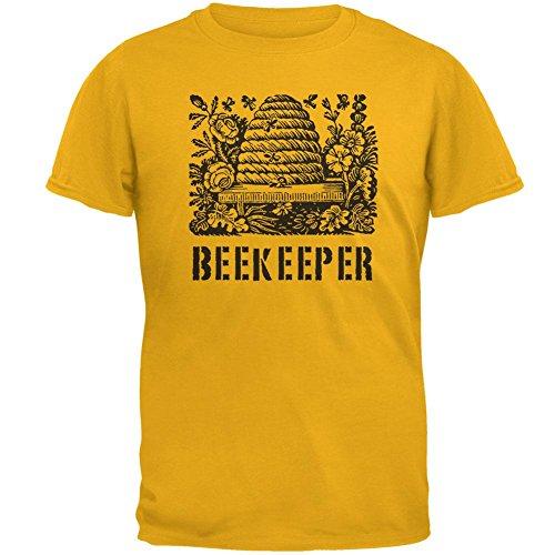Vintage Bee Beekeeper Hive Mens T Shirt Gold X-LG