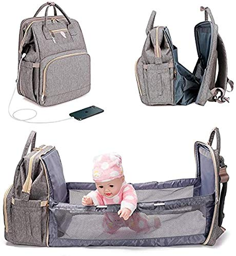 3 In 1 Travel Foldable Bed Diaper Bag Portable Diaper Changing Station With Sunshade And USB Charging Port (Color : Gray)