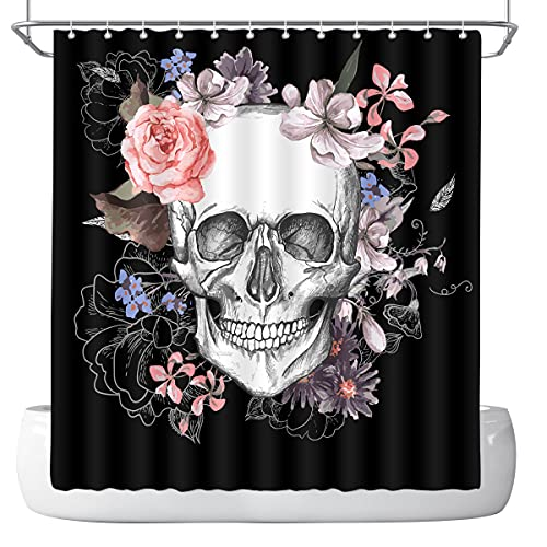 DePhoto Halloween Shower Curtain for Bathroom Gothic Skull Rose Horror Gloomy Black Decoration Accessories Polyester Fabric Waterproof with 12 Hooks 72x72 Inch