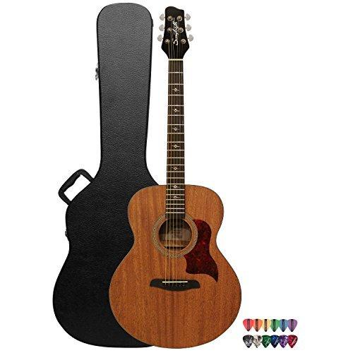 Sawtooth Mahogany Series Solid Mahogany Top Acoustic-Electric Jumbo Guitar with Hard Case & Pick Sampler