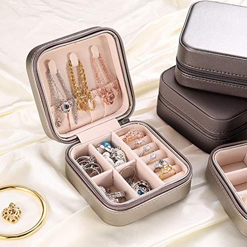 General Jewelery Organiseur de bijoux de voyage Boîte à bijoux portable Bouton en cuir Fermeture Éclair Treasure-France Noir