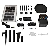 Sunnydaze Solar Water Fountain Pump and Solar Panel Kit with Battery Pack & LED Light, 79 GPH, 47-Inch Lift