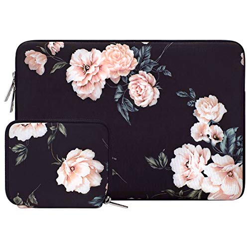 MOSISO Laptop Sleeve Compatible with 15 inch MacBook Pro Touch Bar A1990 A1707, 14 Dell HP Acer, 2019 Surface Laptop 3 15, Water Repellent Neoprene Camellia Bag with Small Case