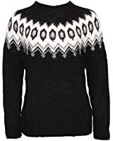 ICEWEAR Hulda 100% Icelandic Wool Hand Knitted Jumper with Crew Neck Black