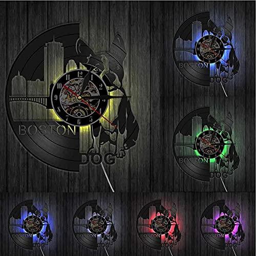 Boston Terrier Perro Reloj de Pared Razas de Perros Bulldog francés Disco de Vinilo Reloj de Pared Cachorro Dueños de Perro Regalo-LED