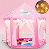 Princess Tent, Princess Castle Play Tents for Girls with Warm Star Lights 55'' X 53'' Large Playhouse Upgraded Unicorn Design Kids Play Tent Girl Toys for Children Indoor and Outdoor Games (Pink)