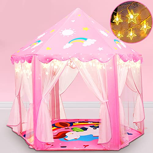 Princess Tent, 2021 Upgraded Unicorn Design Princess Castle Play Tents For Girls With Warm Star Lights 55'' X 53'' Large Playhouse Kids Play Tent Girl Toys For Children Indoor And Outdoor Games (Pink)