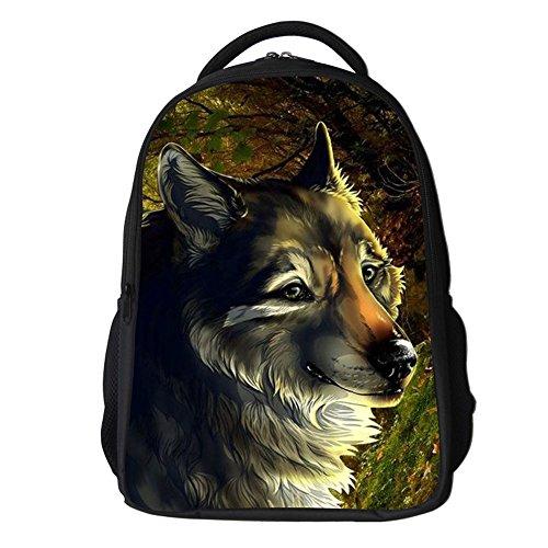 Yimidear Zaino 3D Lupo Stampa Daypack Scuola bag Per Scuola Camping Viaggi Escursionismo (Marrone)