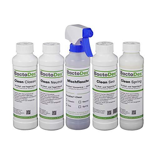BactoDes Clean Reiniger und Geruchsentferner Spray, Geruchsneutralisierer, Raumlufterfrischer im Kennenlern- Set, 4 x 1L